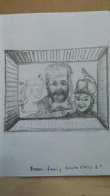 One of happiest moments as a family -  pencil on paper from photo