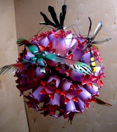 recycled plastic bottles, birds, preying mantis, paint, sculpture