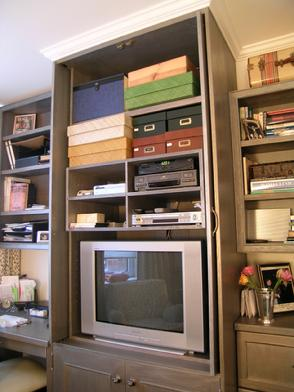 TV unit with pocket doors