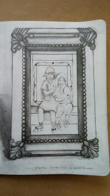 Drawing of the kids at the cabin from photo in antique mini green frame - pencil on paper